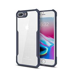 Silikon Schutzhülle Rahmen Tasche Hülle Durchsichtig Transparent Spiegel P01 für Apple iPhone 8 Plus Blau