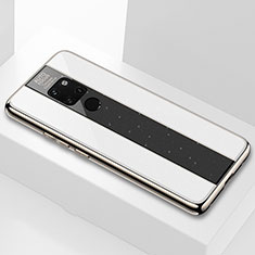 Silikon Schutzhülle Rahmen Tasche Hülle Durchsichtig Transparent Spiegel Q04 für Huawei Mate 20 Weiß