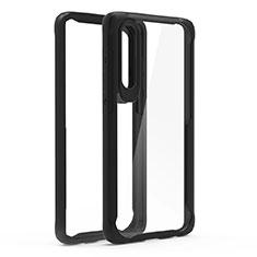 Silikon Schutzhülle Rahmen Tasche Hülle Durchsichtig Transparent Spiegel T02 für Huawei P30 Schwarz