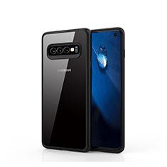 Silikon Schutzhülle Rahmen Tasche Hülle Durchsichtig Transparent Spiegel T02 für Samsung Galaxy S10 Schwarz