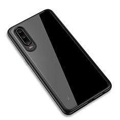 Silikon Schutzhülle Rahmen Tasche Hülle Durchsichtig Transparent Spiegel T03 für Huawei P30 Schwarz