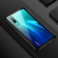 Silikon Schutzhülle Rahmen Tasche Hülle Durchsichtig Transparent Spiegel T05 für Huawei P30 Schwarz