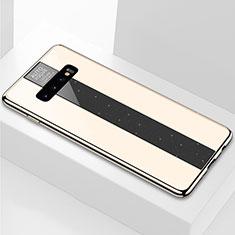 Silikon Schutzhülle Rahmen Tasche Hülle Spiegel A01 für Samsung Galaxy S10 Plus Gold