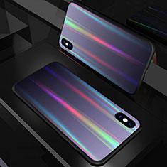 Silikon Schutzhülle Rahmen Tasche Hülle Spiegel Farbverlauf Regenbogen A01 für Apple iPhone X Schwarz
