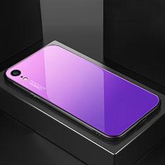 Silikon Schutzhülle Rahmen Tasche Hülle Spiegel Farbverlauf Regenbogen A01 für Apple iPhone XR Violett