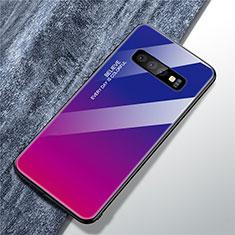 Silikon Schutzhülle Rahmen Tasche Hülle Spiegel Farbverlauf Regenbogen A01 für Samsung Galaxy S10 Plus Pink