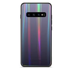 Silikon Schutzhülle Rahmen Tasche Hülle Spiegel Farbverlauf Regenbogen A02 für Samsung Galaxy S10 Plus Schwarz