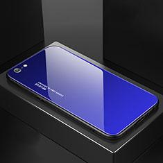 Silikon Schutzhülle Rahmen Tasche Hülle Spiegel Farbverlauf Regenbogen für Apple iPhone 6S Blau