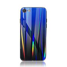 Silikon Schutzhülle Rahmen Tasche Hülle Spiegel Farbverlauf Regenbogen für Apple iPhone 7 Blau