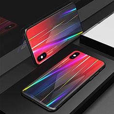 Silikon Schutzhülle Rahmen Tasche Hülle Spiegel Farbverlauf Regenbogen für Apple iPhone Xs Rot