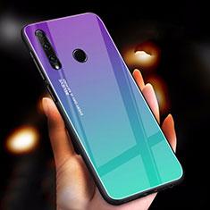 Silikon Schutzhülle Rahmen Tasche Hülle Spiegel Farbverlauf Regenbogen für Huawei Honor 20 Lite Cyan