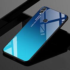 Silikon Schutzhülle Rahmen Tasche Hülle Spiegel Farbverlauf Regenbogen für Huawei Honor 8X Max Blau