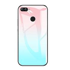 Silikon Schutzhülle Rahmen Tasche Hülle Spiegel Farbverlauf Regenbogen für Huawei Honor 9i Hellblau