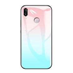 Silikon Schutzhülle Rahmen Tasche Hülle Spiegel Farbverlauf Regenbogen für Huawei Honor Play Hellblau