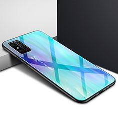 Silikon Schutzhülle Rahmen Tasche Hülle Spiegel Farbverlauf Regenbogen für Huawei Honor X10 Max 5G Cyan