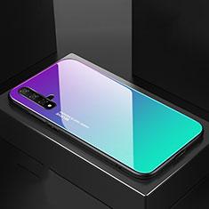 Silikon Schutzhülle Rahmen Tasche Hülle Spiegel Farbverlauf Regenbogen für Huawei Nova 5 Cyan
