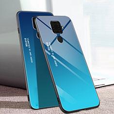 Silikon Schutzhülle Rahmen Tasche Hülle Spiegel Farbverlauf Regenbogen für Huawei Nova 5i Pro Blau