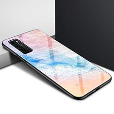Silikon Schutzhülle Rahmen Tasche Hülle Spiegel Farbverlauf Regenbogen für Huawei Nova 7 5G Orange