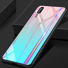 Silikon Schutzhülle Rahmen Tasche Hülle Spiegel Farbverlauf Regenbogen für Huawei P20 Cyan