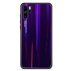 Silikon Schutzhülle Rahmen Tasche Hülle Spiegel Farbverlauf Regenbogen für Huawei P30 Pro Violett