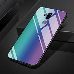 Silikon Schutzhülle Rahmen Tasche Hülle Spiegel Farbverlauf Regenbogen für LG G7 Blau