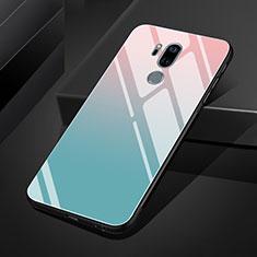 Silikon Schutzhülle Rahmen Tasche Hülle Spiegel Farbverlauf Regenbogen für LG G7 Hellblau