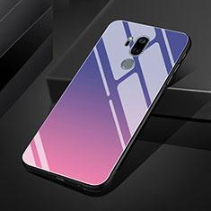 Silikon Schutzhülle Rahmen Tasche Hülle Spiegel Farbverlauf Regenbogen für LG G7 Violett