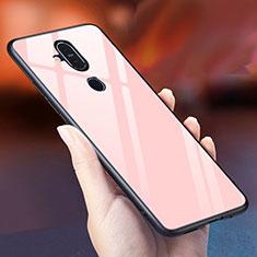 Silikon Schutzhülle Rahmen Tasche Hülle Spiegel Farbverlauf Regenbogen für Nokia 7.1 Plus Rosegold
