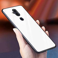 Silikon Schutzhülle Rahmen Tasche Hülle Spiegel Farbverlauf Regenbogen für Nokia 7.1 Plus Weiß