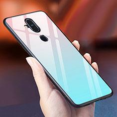 Silikon Schutzhülle Rahmen Tasche Hülle Spiegel Farbverlauf Regenbogen für Nokia X7 Hellblau