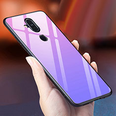 Silikon Schutzhülle Rahmen Tasche Hülle Spiegel Farbverlauf Regenbogen für Nokia X7 Violett
