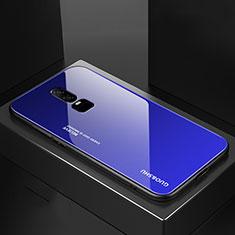 Silikon Schutzhülle Rahmen Tasche Hülle Spiegel Farbverlauf Regenbogen für OnePlus 6 Blau