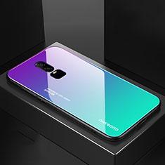 Silikon Schutzhülle Rahmen Tasche Hülle Spiegel Farbverlauf Regenbogen für OnePlus 6 Cyan