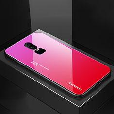 Silikon Schutzhülle Rahmen Tasche Hülle Spiegel Farbverlauf Regenbogen für OnePlus 6 Pink