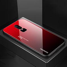 Silikon Schutzhülle Rahmen Tasche Hülle Spiegel Farbverlauf Regenbogen für OnePlus 6 Rot