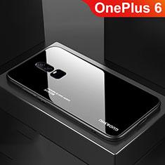 Silikon Schutzhülle Rahmen Tasche Hülle Spiegel Farbverlauf Regenbogen für OnePlus 6 Schwarz