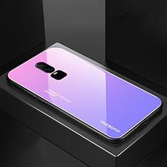 Silikon Schutzhülle Rahmen Tasche Hülle Spiegel Farbverlauf Regenbogen für OnePlus 6 Violett