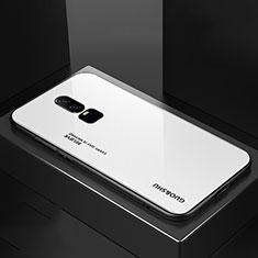 Silikon Schutzhülle Rahmen Tasche Hülle Spiegel Farbverlauf Regenbogen für OnePlus 6 Weiß