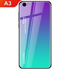 Silikon Schutzhülle Rahmen Tasche Hülle Spiegel Farbverlauf Regenbogen für Oppo A3 Cyan
