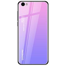 Silikon Schutzhülle Rahmen Tasche Hülle Spiegel Farbverlauf Regenbogen für Oppo A3 Violett