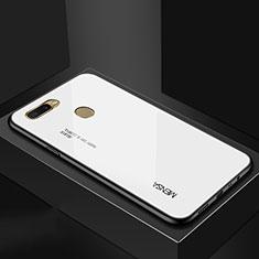Silikon Schutzhülle Rahmen Tasche Hülle Spiegel Farbverlauf Regenbogen für Oppo A7 Weiß
