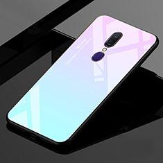 Silikon Schutzhülle Rahmen Tasche Hülle Spiegel Farbverlauf Regenbogen für Oppo A9 Cyan