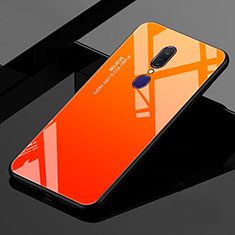 Silikon Schutzhülle Rahmen Tasche Hülle Spiegel Farbverlauf Regenbogen für Oppo A9X Orange
