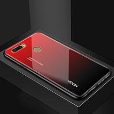 Silikon Schutzhülle Rahmen Tasche Hülle Spiegel Farbverlauf Regenbogen für Oppo AX7 Rot