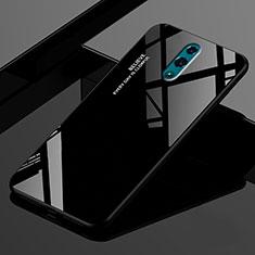 Silikon Schutzhülle Rahmen Tasche Hülle Spiegel Farbverlauf Regenbogen für Oppo Realme X Schwarz