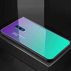 Silikon Schutzhülle Rahmen Tasche Hülle Spiegel Farbverlauf Regenbogen für Oppo Reno Cyan