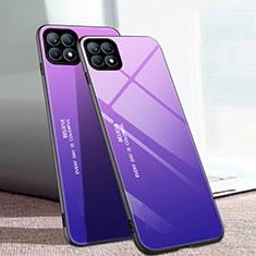 Silikon Schutzhülle Rahmen Tasche Hülle Spiegel Farbverlauf Regenbogen für Oppo Reno4 SE 5G Violett