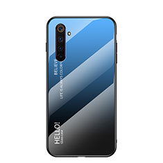 Silikon Schutzhülle Rahmen Tasche Hülle Spiegel Farbverlauf Regenbogen für Realme 6s Blau