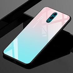 Silikon Schutzhülle Rahmen Tasche Hülle Spiegel Farbverlauf Regenbogen für Realme X Cyan