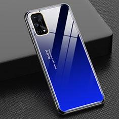 Silikon Schutzhülle Rahmen Tasche Hülle Spiegel Farbverlauf Regenbogen für Realme X7 Pro 5G Blau